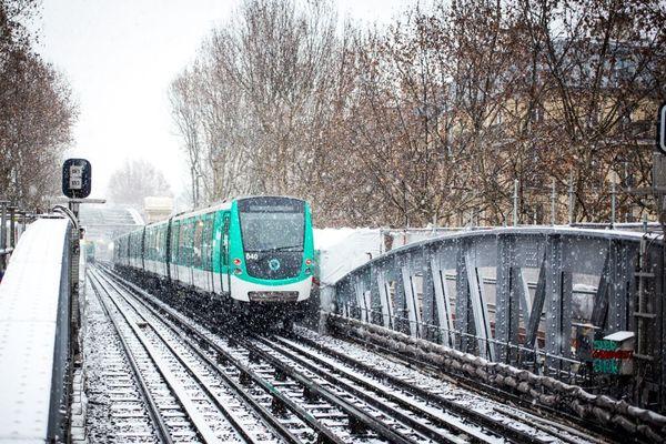 Le métro parisien sous la neige, le 22 janvier 2019 (illustration).