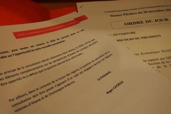 Vendredi 28 novembre 2014, les socio-professionnels disent non à la consultation des lorrains sur la gare de Vandières.