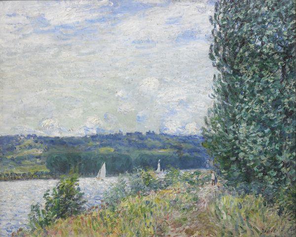 """""""Le sentier au bord de l'eau à Sahurs, le soir"""" d'Alfred Sisley (1894). Le mécène normand François Depeaux, grand amateur de peintres impressionnistes, avait acheté 55 toiles de Sisley."""