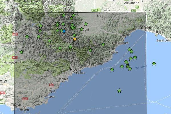 Bleu : dernier événement enregistré / Vert : séismes de magnitude supérieure ou égale à 2.0 / Jaune : séismes de magnitude supérieure ou égale à 3.0