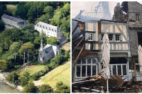 """Le centre des jésuites de Penboc'h et le restaurant """"Chez la mère Pourcel"""" dont la bâtisse a été ravagée par un incendie sont concernés par le mécénat participatif"""