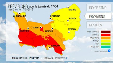 Nouvel épisode de pollution de l'air ce vendredi 17 avril en Basse-Normandie