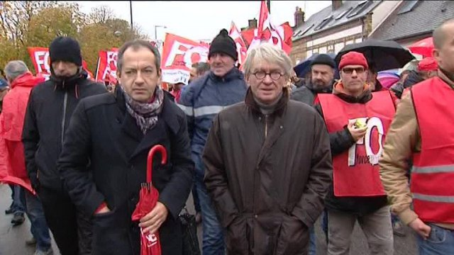 Jean-Claude Mailly en tête dune manifestation des syndicats à Evreux / © France 3 Normandie