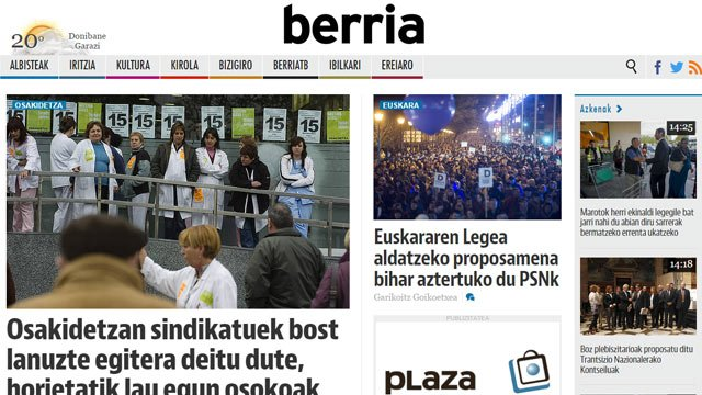 Le journal basque Berria