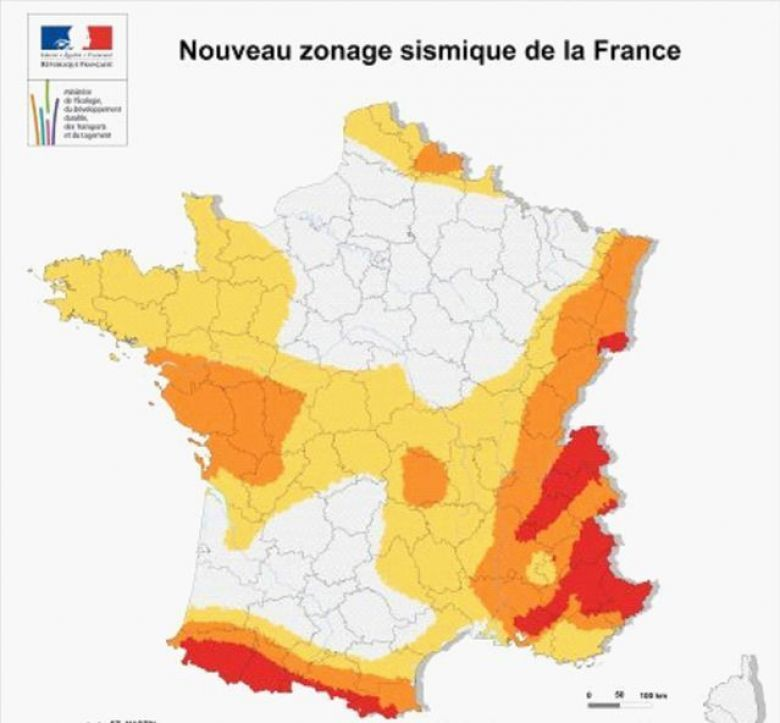 Carte du zonage sismique en France / © BRGM