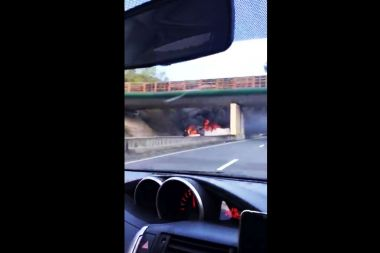 L'accident a eu lieu peu après 9h sur l'A89 / © Photo Fiona Pillier Morel