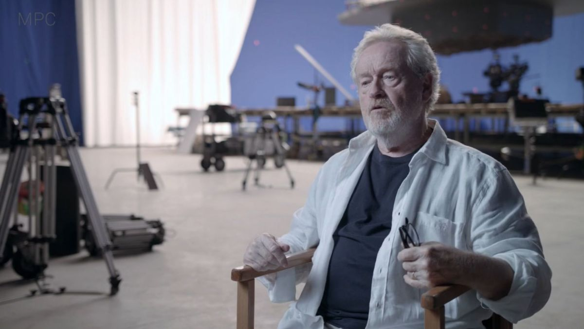 "Le réalisateur britannique Ridley Scott / © capture d'écran de ""Hennessy, The Seven Worlds Making Of"", The Moving Picture Company (MPC)"