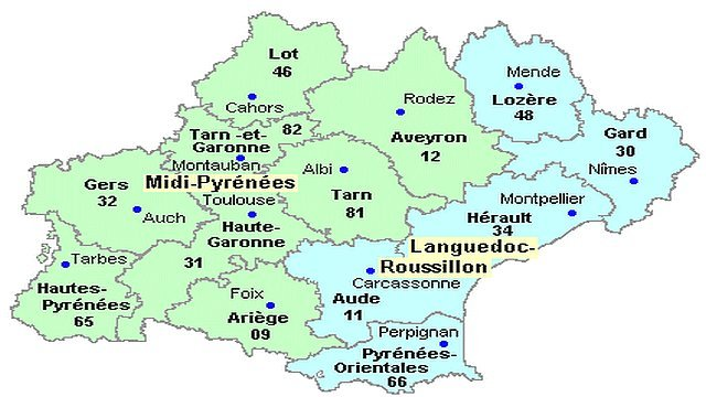 sud de la france departements - Photo