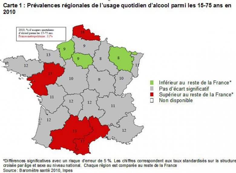 Carte de France de l'usage quotidien d'alcool par régions, en 2010. / © INPES 2010