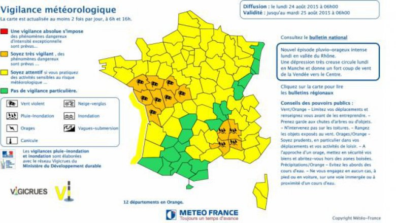 carte vigilance Meteo France 24 août 2015 / © Méteo France