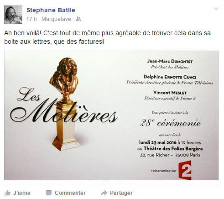 Capture d'écran du post facebook du metteur en scène Stéphane Battle
