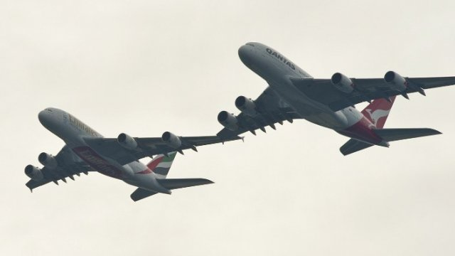 Les deux A380 en formation / © James Morgan / Qantas
