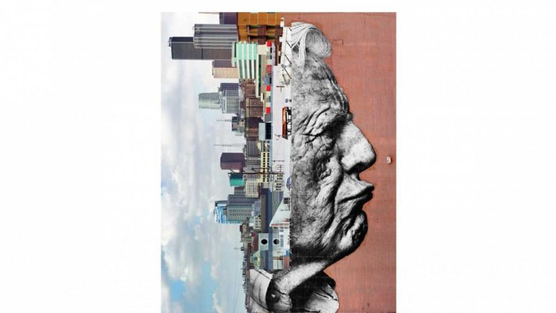 JR, The wrinkles of the city, Los Angeles‐Robert Upside Down, Downtown, USA, 2011 / © JR