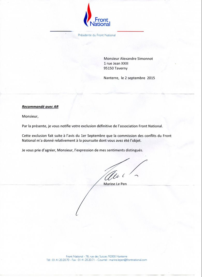 Lettre d'exclusion du Front national reçue par Alexandre Simonnot. / © France 3 Paris IDF