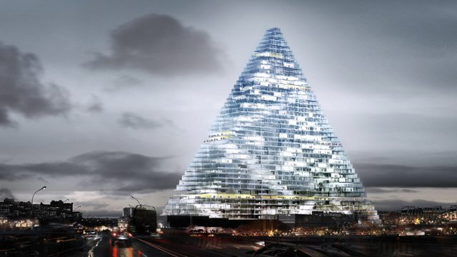 La tour triangle en projet dans le 15 ème / © Cabinet Herzog et de Meuron. Photo IP3Press/MaxPPP