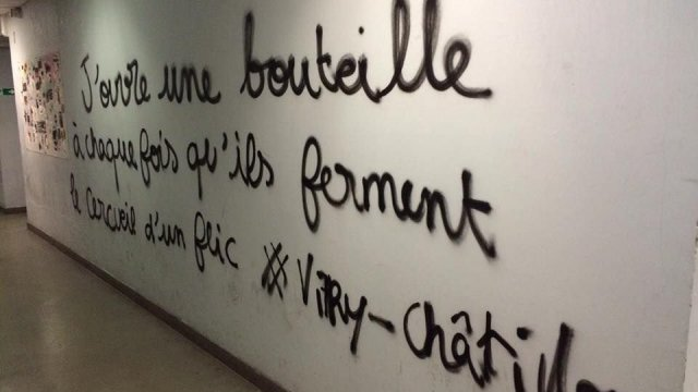 One of the tags antipolice  discovered Tuesday in the'inside of  the'université Paris 1  Panthéon-Sorbonne. © Capture  d'screen