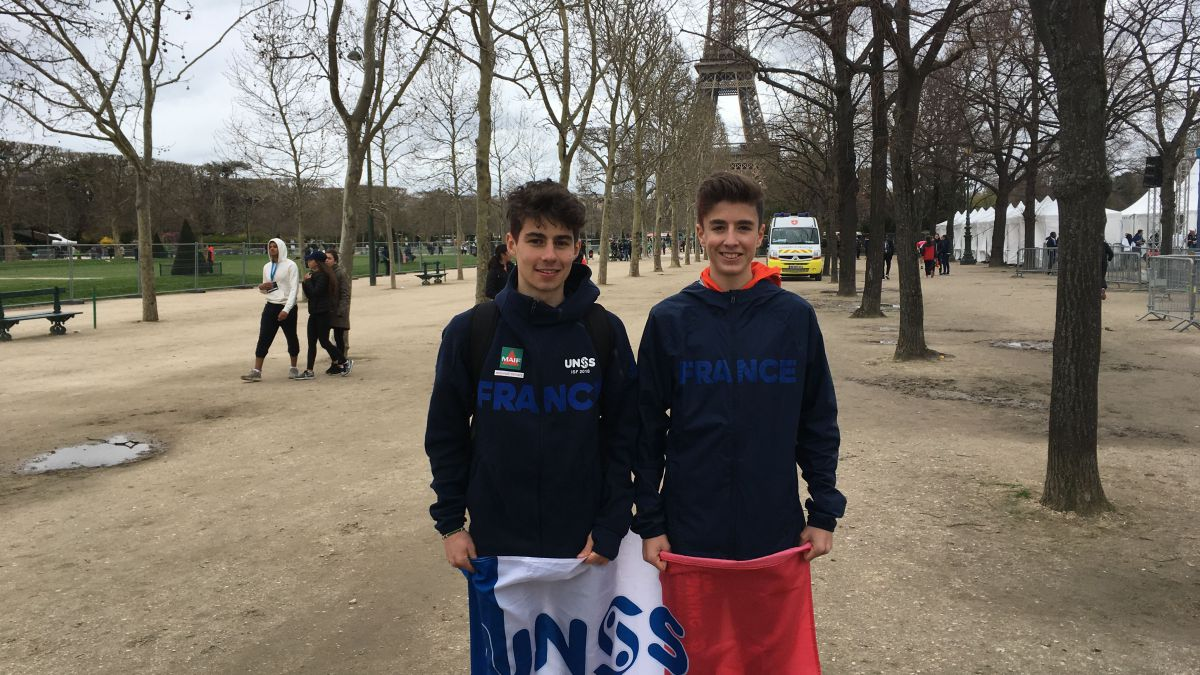 Félix et Etienne, athlètes au championnat du monde de cross-country (sport scolaire), à Paris, le 4 avril 2018. / © France 3 Paris IDF/M. Taubert