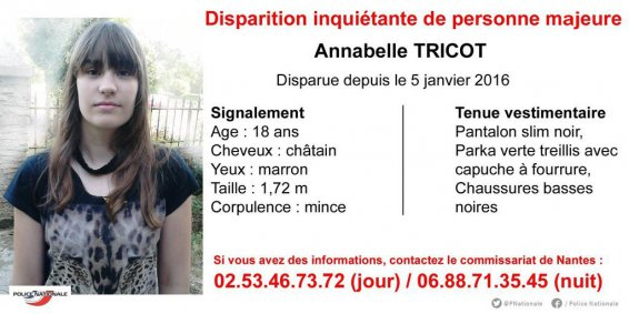 Disparition inquiétante Annabelle Tricot