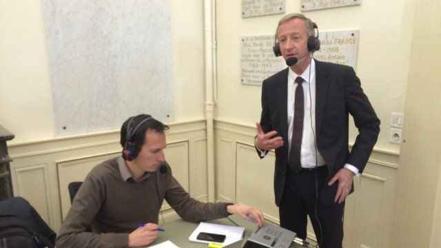 Olivier Richefou en direct sur France Bleu Mayenne / © Pierre-Erik Cally