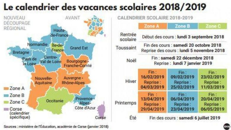 Calendrier vacances 2018/19 / © Education nationale