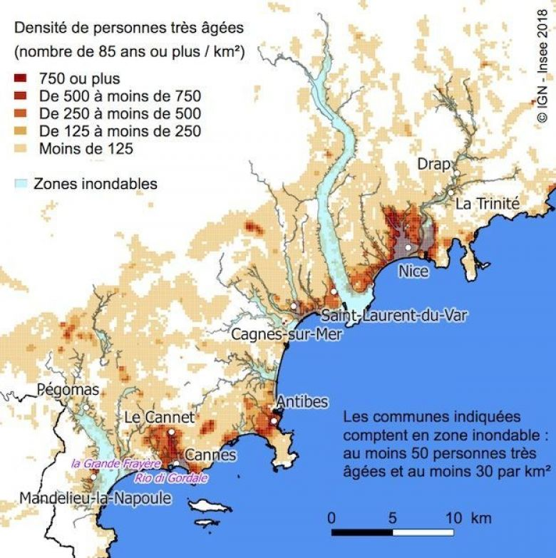 Les sites en zones inondables. / © INSEE