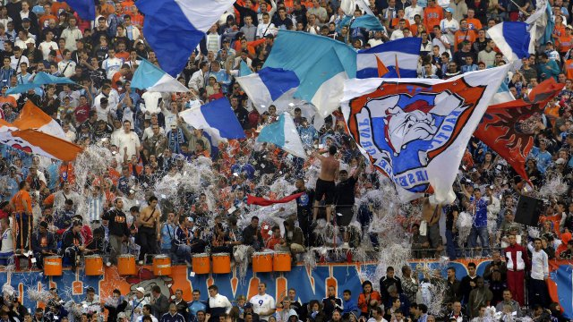 Les supporters South Winners au stade Vélodrome en 2007. / © Maxppp