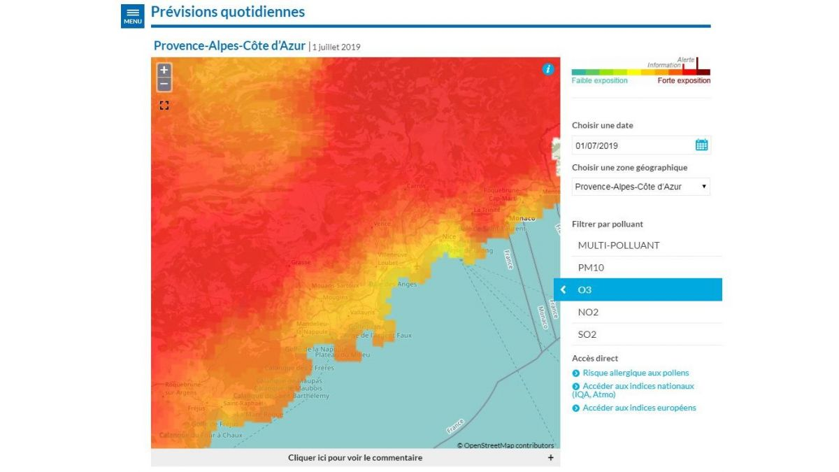 La pollution de l'air à l'ozone atteint un record dans les Alpes-Maritimes