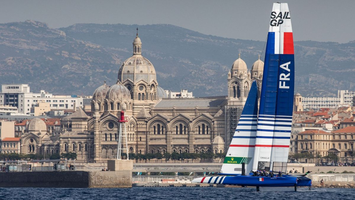 Le catamaran F50 de l'éqipe de France, à l'entraînement à Marseille / © Eloi Sitchelbaut for SailGP