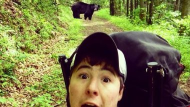 L'ours et les selfies dans le parc national du lac Tahoe. / © Jacob Bean on Twitter