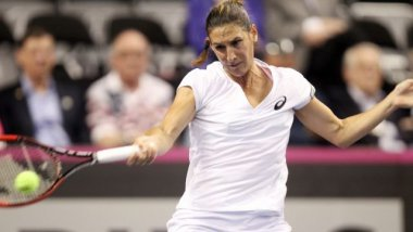 Virginie Razzano , lors d'un match en Fed Cup à St. Louis (USA) le 20 avril 2014 / © BILL GREENBLATT/UPI/MAXPPP -