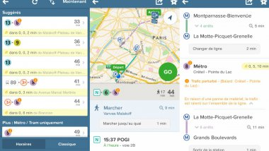 Captures d'écran de l'application CityMapper. / © F3 Paris IDF