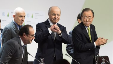 François Hollande, Laurent Fabius et Ban Ki-Moon. / © POOL/WITT/MAXPPP