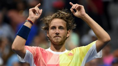Lucas Pouille après avoir battu Rafael Nadal lors de l'US Open de tennis le 4 septembre 2016 à New York ( / © AFP-Don EMMERT