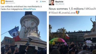 Photos du tweets du Kiss In, place de la République, à Paris. / © collage Twitter