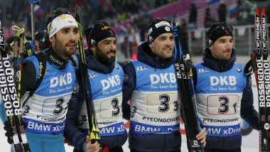 Martin Fourcade, Simon Fourcade, Simon Desthieux and Jean Guillaume Beatrix / © maxppp