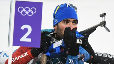 Martin Fourcade au tir lors du 15 kilomètres mass start à PyeongChang. Photo : Wang Haofei Xinhua News Agency/Newscom/MaxPPP