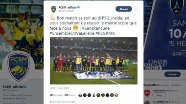 Le message de soutien du FC Sochaux-Montbéliard au Paris Saint-Germain avant le match retour contre le Real Madrid