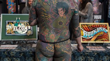 """Homme vu de dos"" au World Tattoo Convention en 2018 / © IP3 PRESS/MAXPPP"