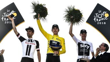 Le podium 2018 du Tour de France : Geraint Thomas, Tom Dumoulin et Chris Froome. / © Jeff PACHOUD / AFP