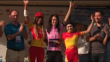 Le podium final du Tour cycliste féminin international de l'Ardèche / © Organisation TCFIA