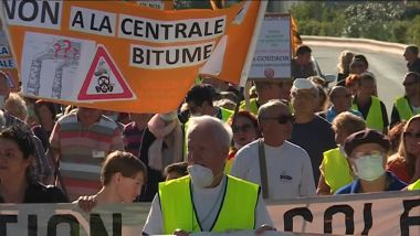 Une manifestation de riverains contre l'implantation de la centrale en octobre 2017. / © Jean-Paul Bierlein / France 3 Côte d'Azur