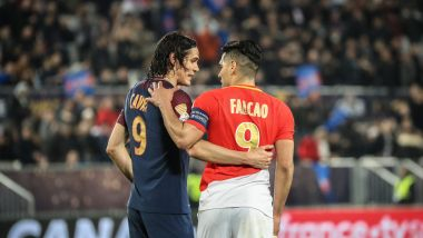 31 mars 2018 Finale de la coupe de la ligue de football entre Paris Saint Germain et l'AS. Monaco. Cavani (Psg) et Falcao (AS Monaco) / © maxppp