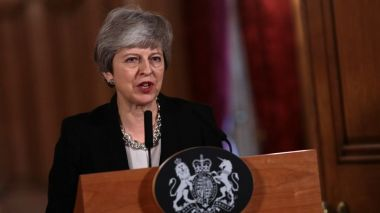 Theresa May lors de son allocution ce mardi soir à Londres. / © Jack Taylor / POOL / AFP