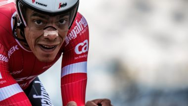 Jarlinson Pantano lors de la course cycliste Paris-Nice en 2018. / © JEFF PACHOUD / AFP