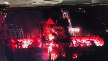 Image de drone de la police nationale de Notre Dame de Paris en flamme. 15 avril 2019 / © Police nationale