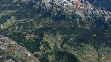 Le Grand Colon (point rouge sur la carte), sur la commune de Revel, est l'un des sommets phares du massif de Belledonne. / © Google maps