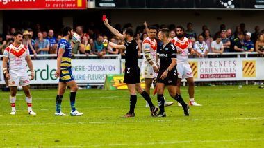 Perpignan - au stade Brutus lors du match de Super league entre les Dragons catalans et Warrington, un carton rouge puis une rixe sur le terrain et dans les tribunes - 3 août 2019. / © Nicolas Parent maxppp