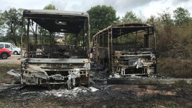 Bus incendiés à Lugny (71) / © Guy Galéa