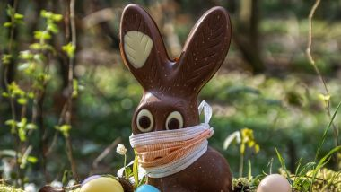 ILLUSTRATION. Nous n'avons pas pu résister. Les fêtes de Pâques se célèbrent cette année en confinement. Alors même le traditionnel lapin en chocolat doit sortir avec son masque... / © ILLUSTRATION/PIXABAY